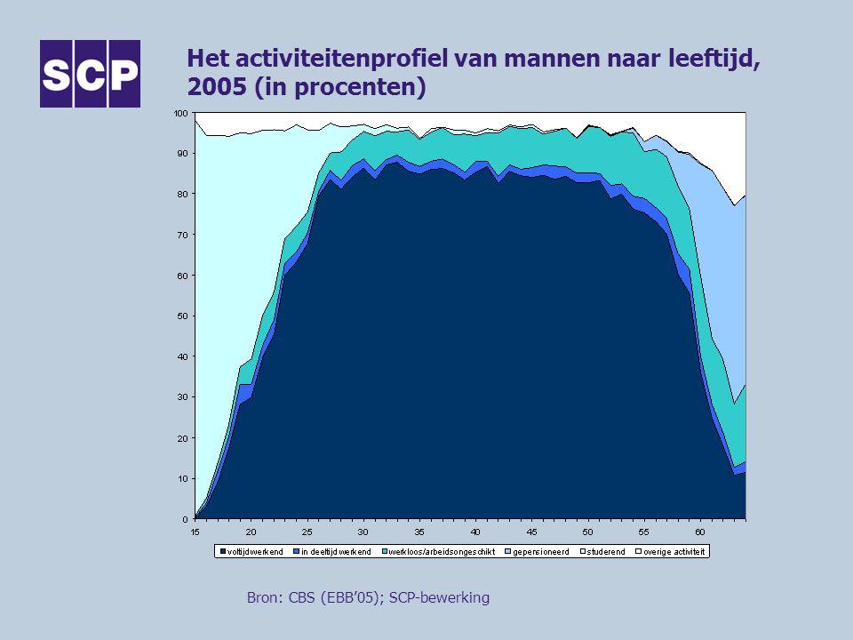 Het activiteitenprofiel van mannen naar leeftijd, 2005 (in procenten)