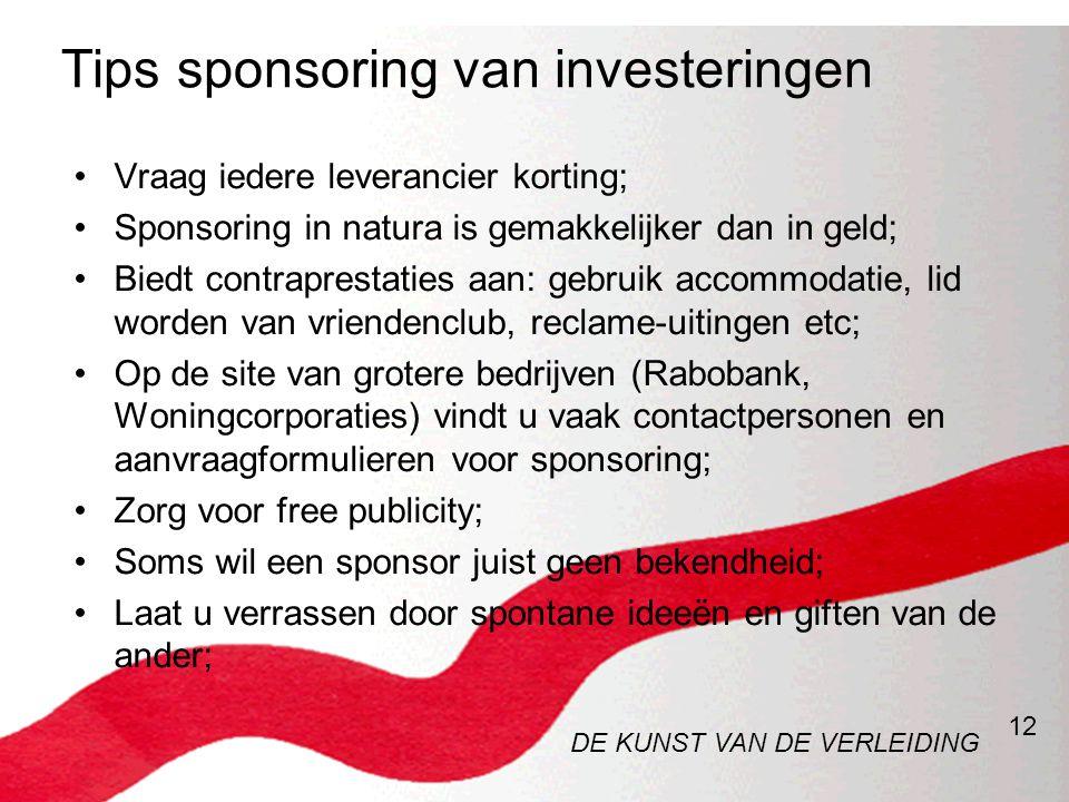 Tips sponsoring van investeringen
