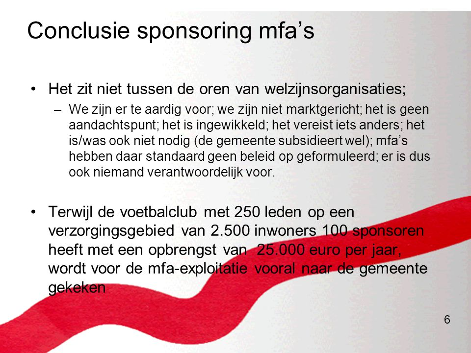 Conclusie sponsoring mfa's