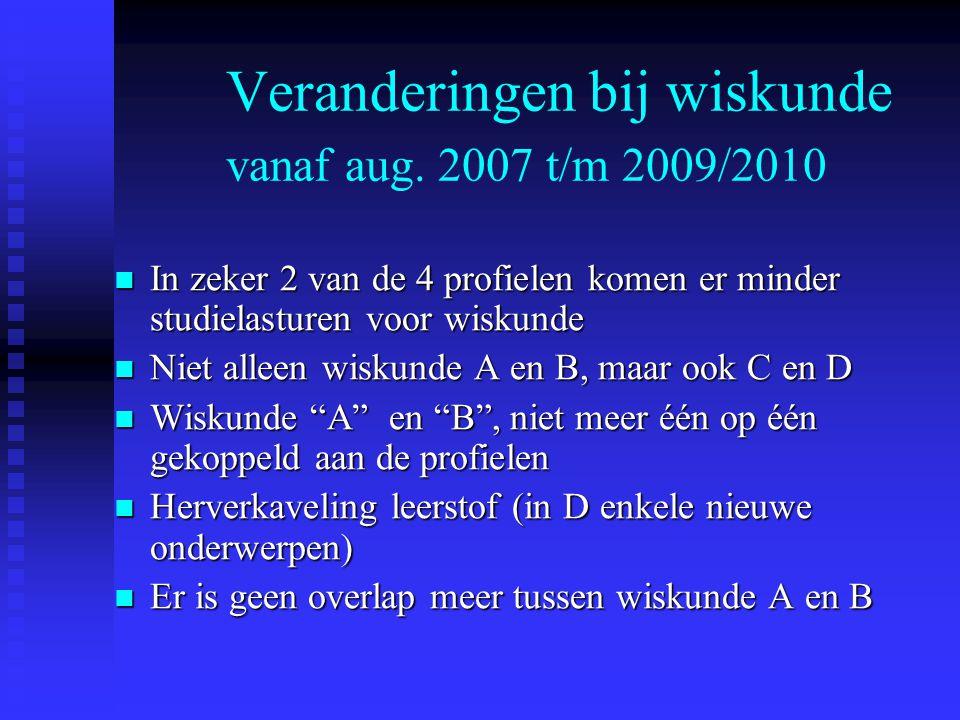 Veranderingen bij wiskunde vanaf aug. 2007 t/m 2009/2010