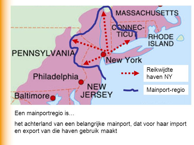 Reikwijdte haven NY Mainport-regio. Een mainportregio is…