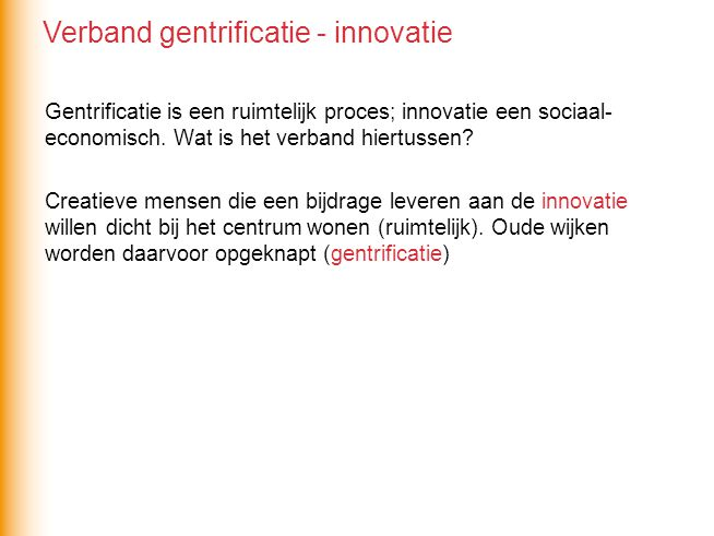 Verband gentrificatie - innovatie