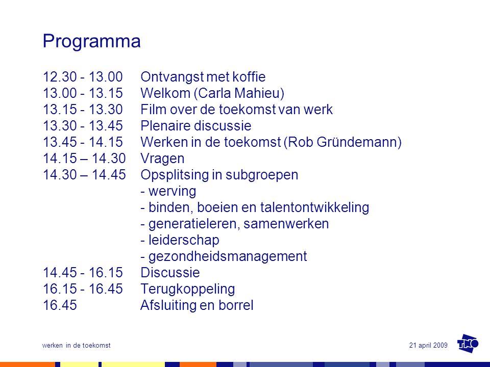 Programma 12.30 - 13.00 Ontvangst met koffie