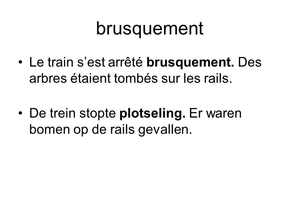 brusquement Le train s'est arrêté brusquement. Des arbres étaient tombés sur les rails.