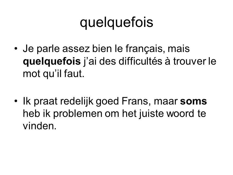 quelquefois Je parle assez bien le français, mais quelquefois j'ai des difficultés à trouver le mot qu'il faut.