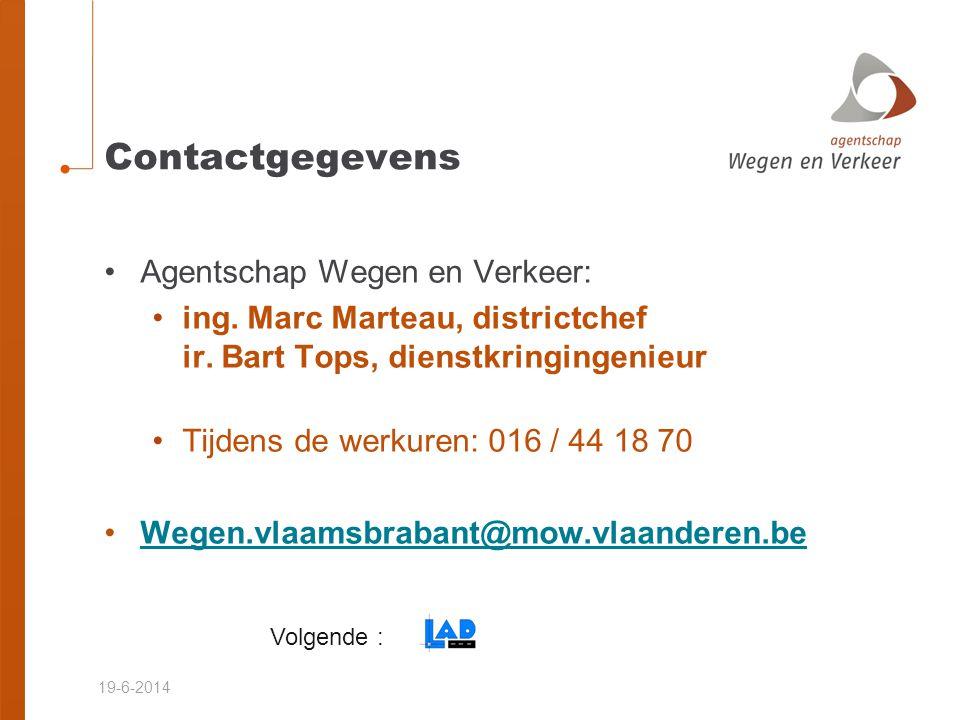 Contactgegevens Agentschap Wegen en Verkeer:
