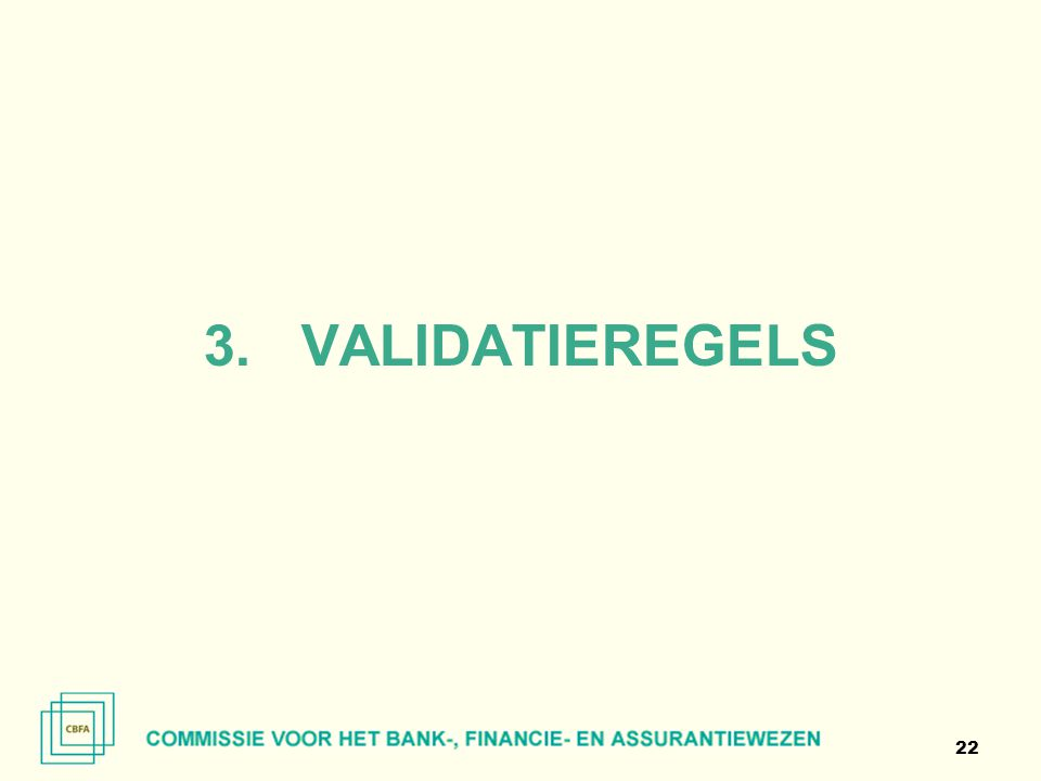 VALIDATIEREGELS