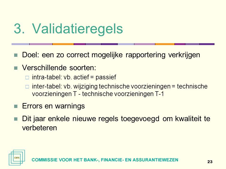 Validatieregels Doel: een zo correct mogelijke rapportering verkrijgen