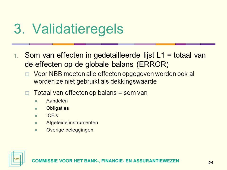 Validatieregels Som van effecten in gedetailleerde lijst L1 = totaal van de effecten op de globale balans (ERROR)