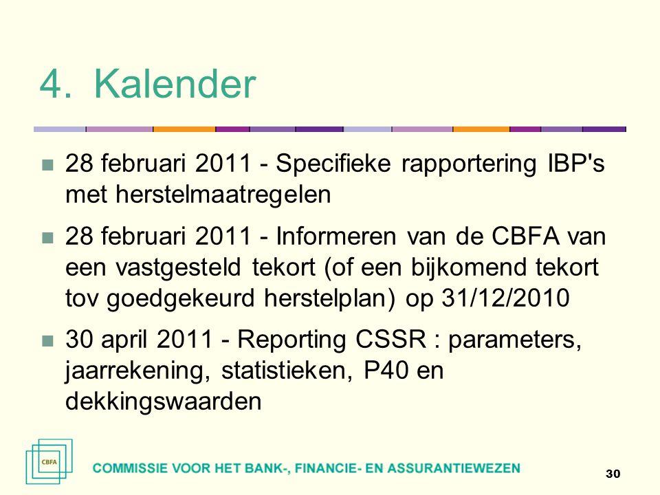 Kalender 28 februari 2011 - Specifieke rapportering IBP s met herstelmaatregelen.
