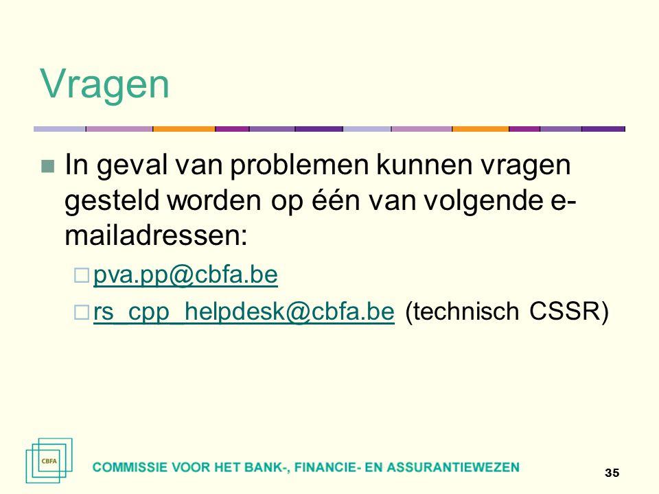 Vragen In geval van problemen kunnen vragen gesteld worden op één van volgende e-mailadressen: pva.pp@cbfa.be.