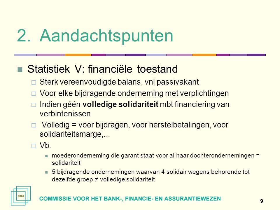 Aandachtspunten Statistiek V: financiële toestand
