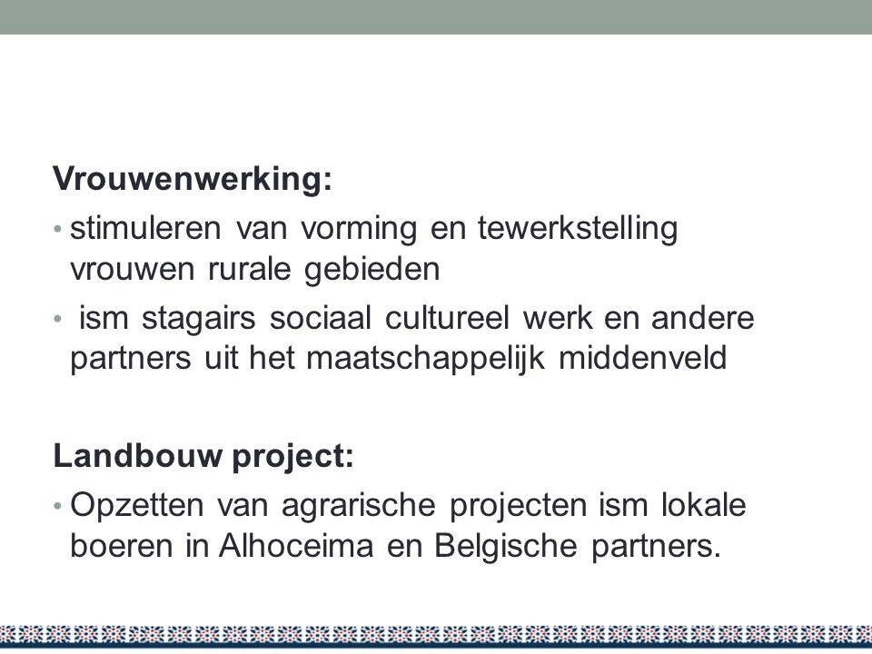 Vrouwenwerking: stimuleren van vorming en tewerkstelling vrouwen rurale gebieden.