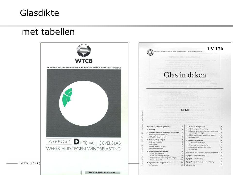 Glasdikte met tabellen TV 176 Reglementatie in België