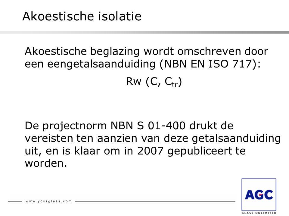 Akoestische isolatie Akoestische beglazing wordt omschreven door een eengetalsaanduiding (NBN EN ISO 717):