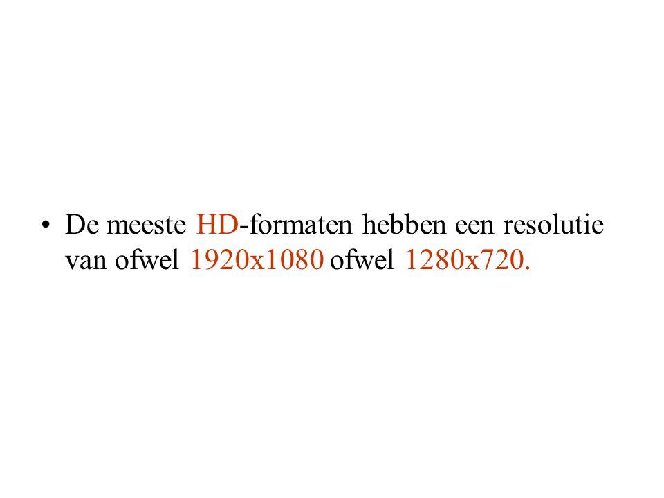 De meeste HD-formaten hebben een resolutie van ofwel 1920x1080 ofwel 1280x720.
