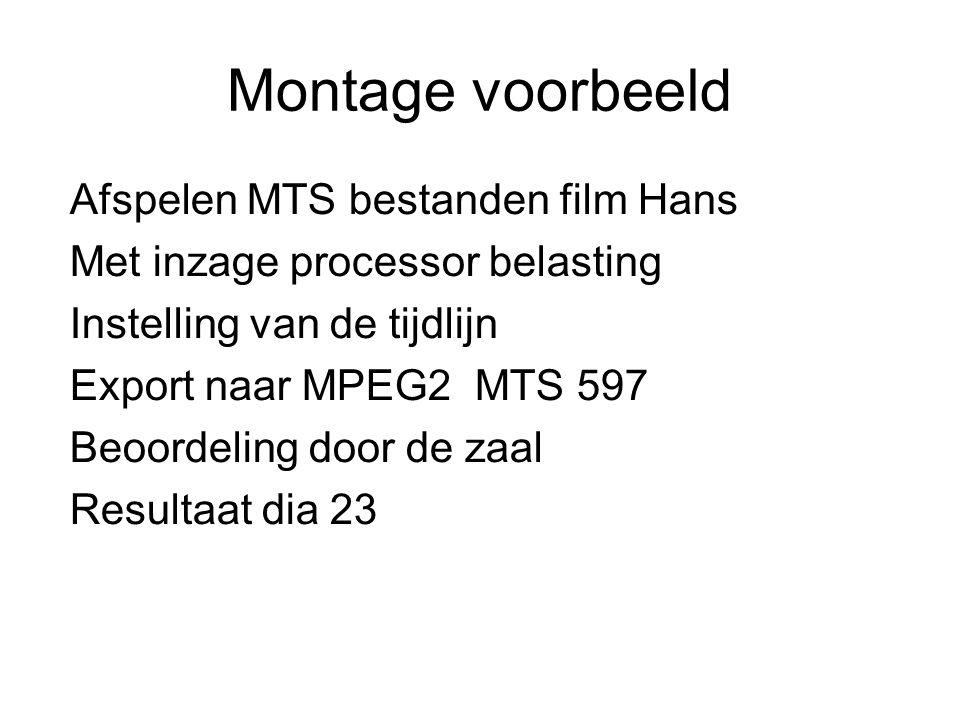 Montage voorbeeld Afspelen MTS bestanden film Hans