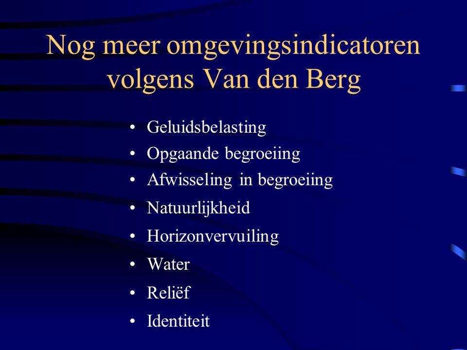 Nog meer omgevingsindicatoren volgens Van den Berg