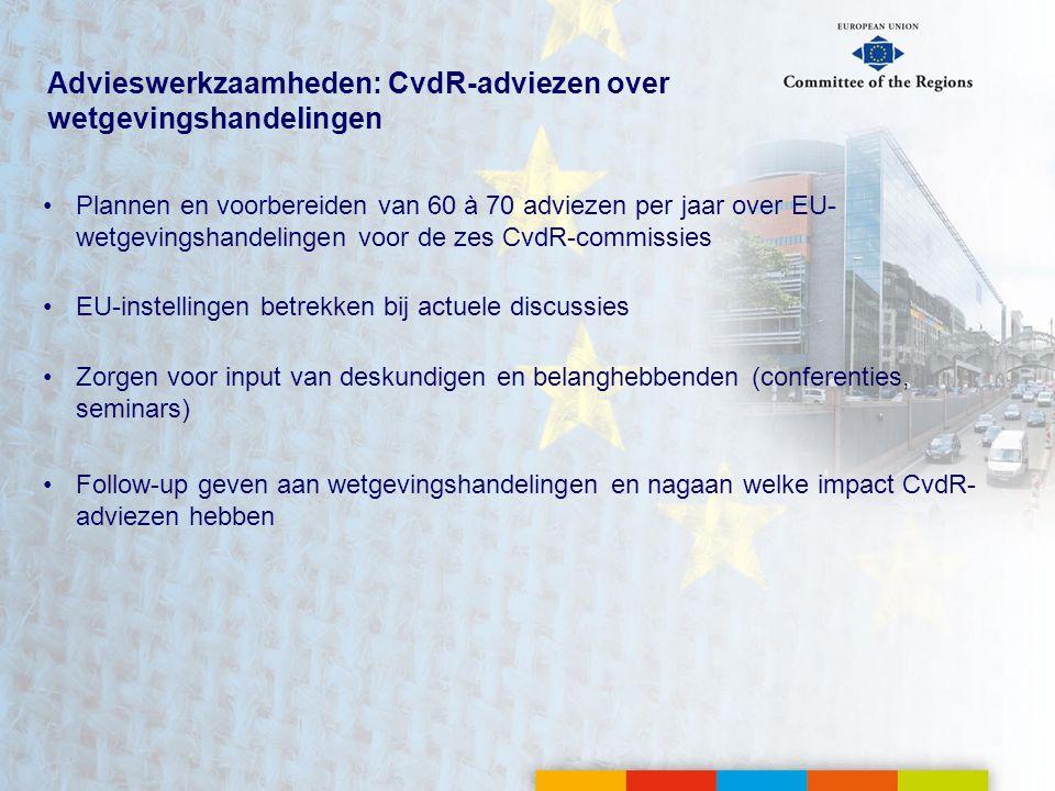 Advieswerkzaamheden: CvdR-adviezen over wetgevingshandelingen
