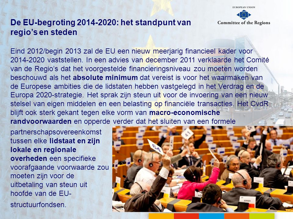 De EU-begroting 2014-2020: het standpunt van regio's en steden