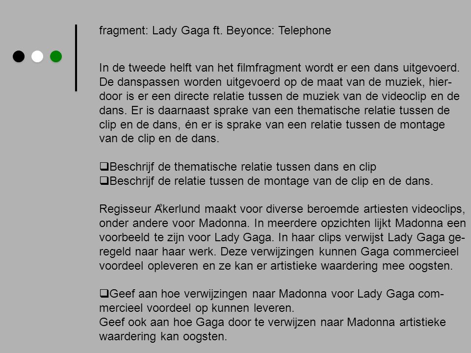fragment: Lady Gaga ft. Beyonce: Telephone
