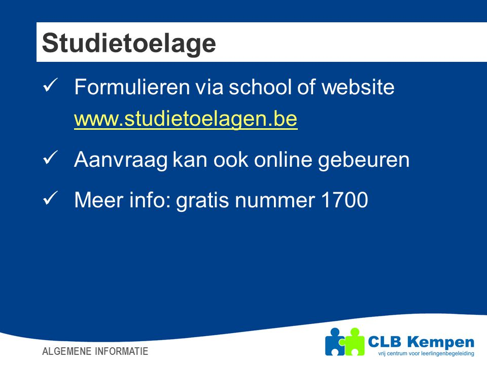 Studietoelage Formulieren via school of website www.studietoelagen.be