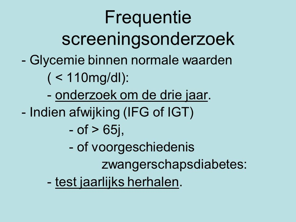 Frequentie screeningsonderzoek