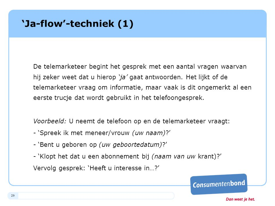 'Ja-flow'-techniek (1)