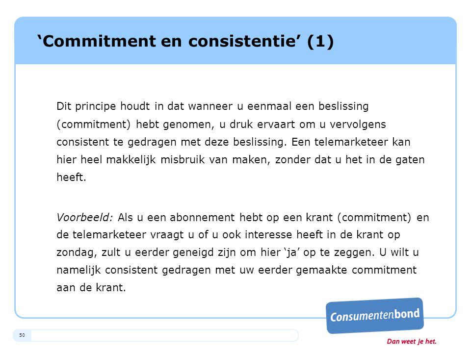 'Commitment en consistentie' (1)