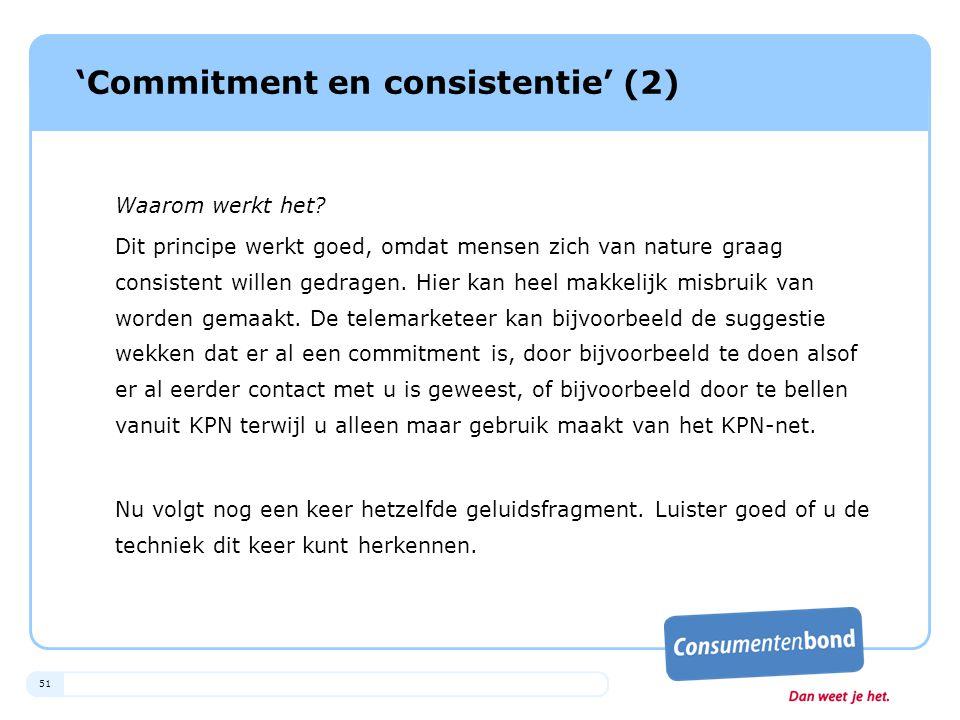 'Commitment en consistentie' (2)