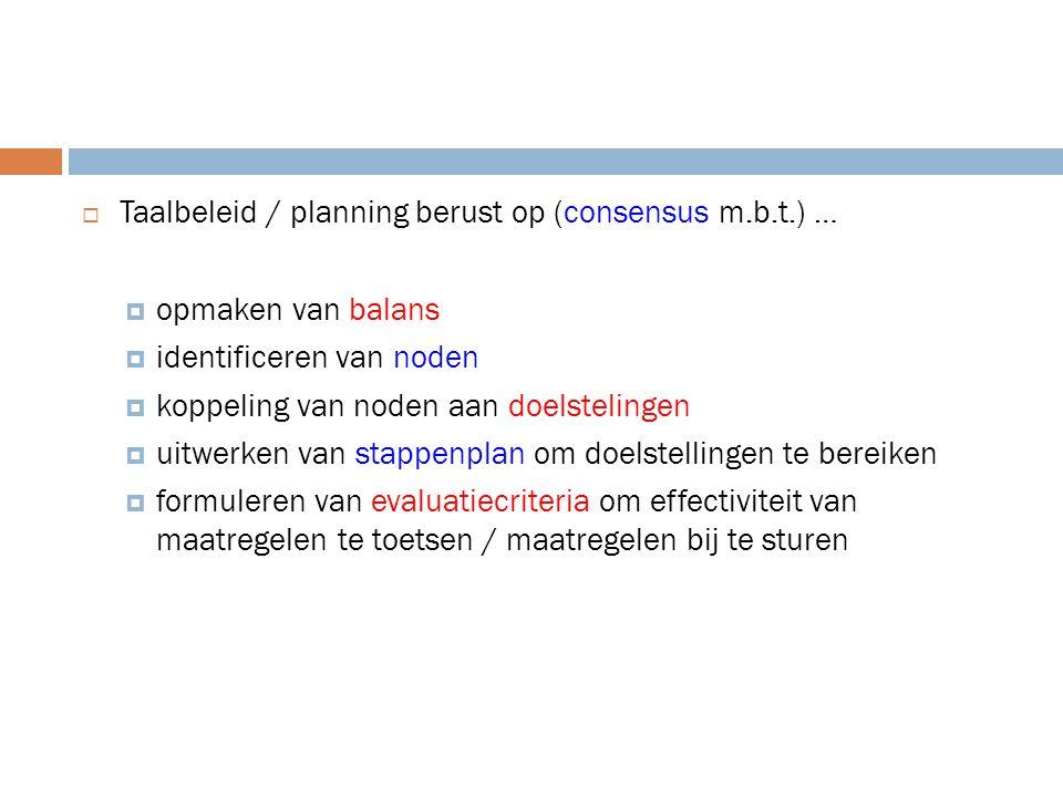 Taalbeleid / planning berust op (consensus m.b.t.) …