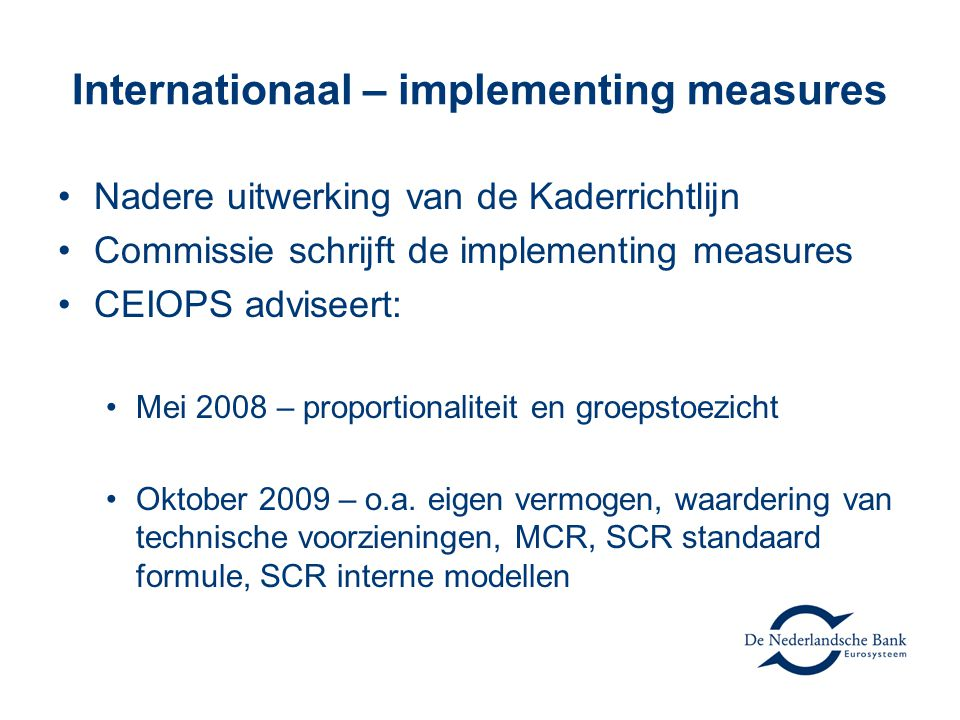 Internationaal – implementing measures