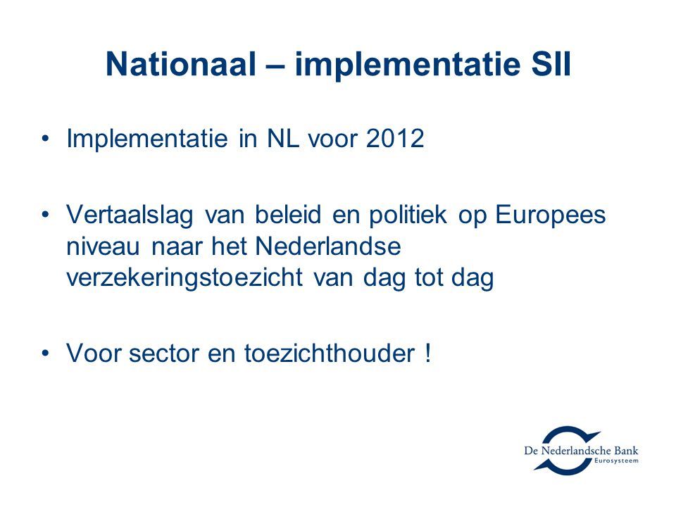 Nationaal – implementatie SII
