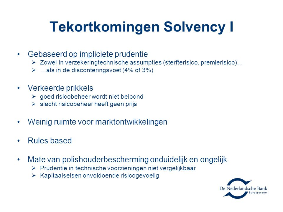 Tekortkomingen Solvency I