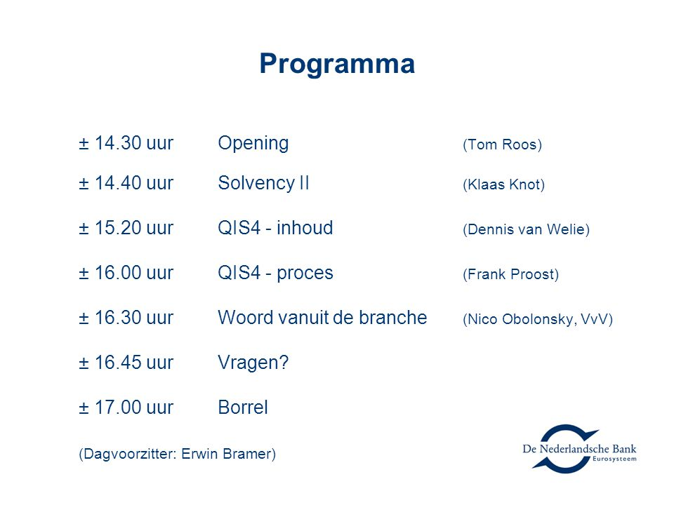 Programma ± 14.30 uur Opening (Tom Roos)