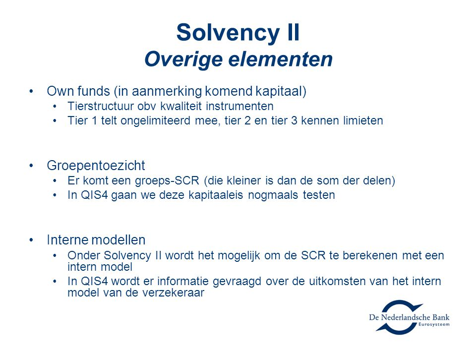 Solvency II Overige elementen