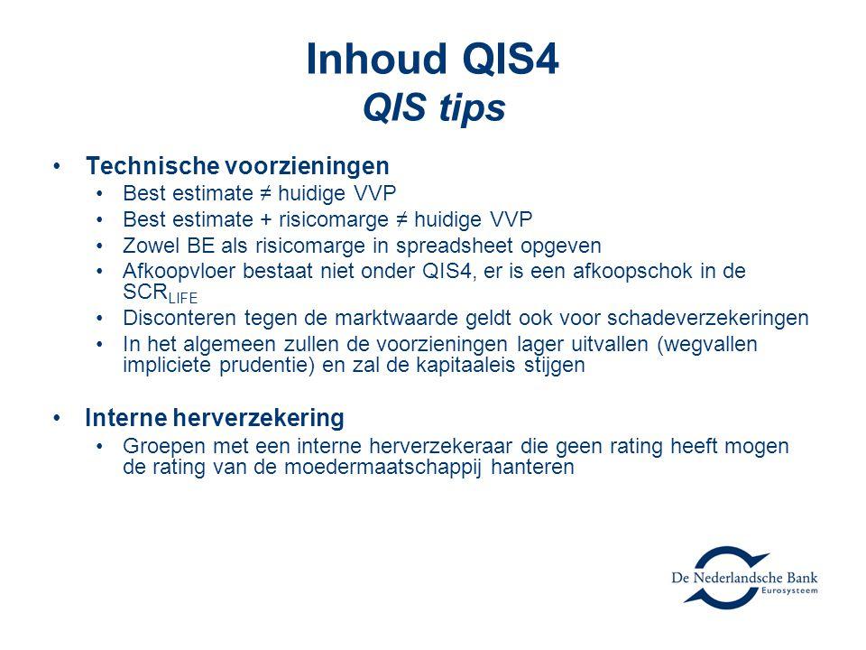 Inhoud QIS4 QIS tips Technische voorzieningen Interne herverzekering