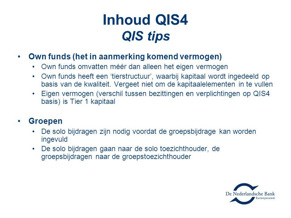 Inhoud QIS4 QIS tips Own funds (het in aanmerking komend vermogen)