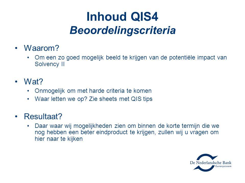Inhoud QIS4 Beoordelingscriteria