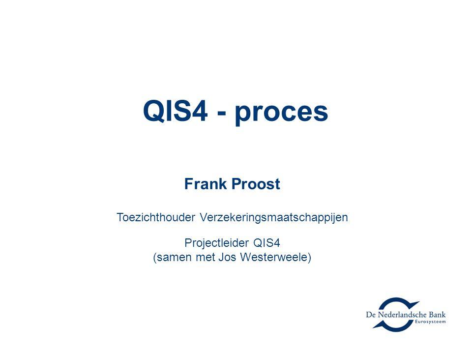 QIS4 - proces Frank Proost Toezichthouder Verzekeringsmaatschappijen Projectleider QIS4 (samen met Jos Westerweele)