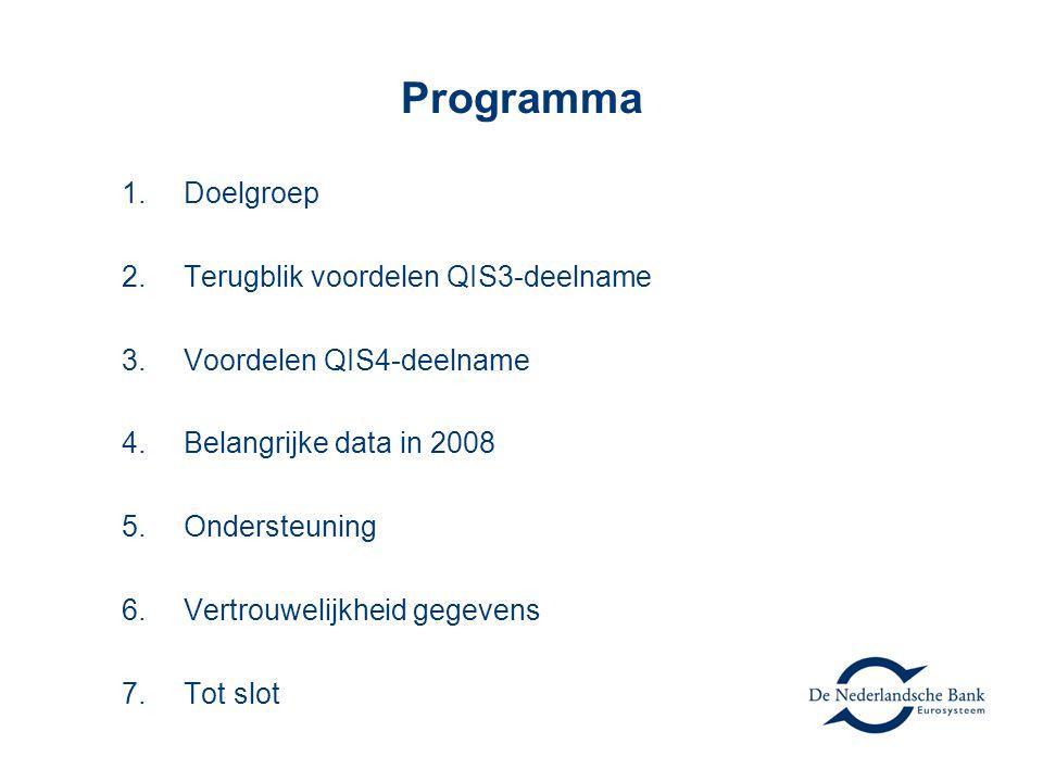 Programma Doelgroep Terugblik voordelen QIS3-deelname