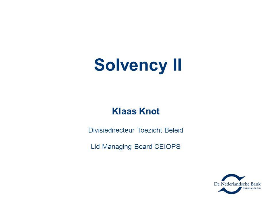 Klaas Knot Divisiedirecteur Toezicht Beleid Lid Managing Board CEIOPS