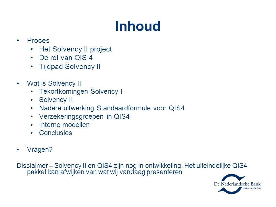 Inhoud Proces Het Solvency II project De rol van QIS 4