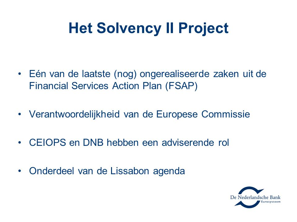Het Solvency II Project