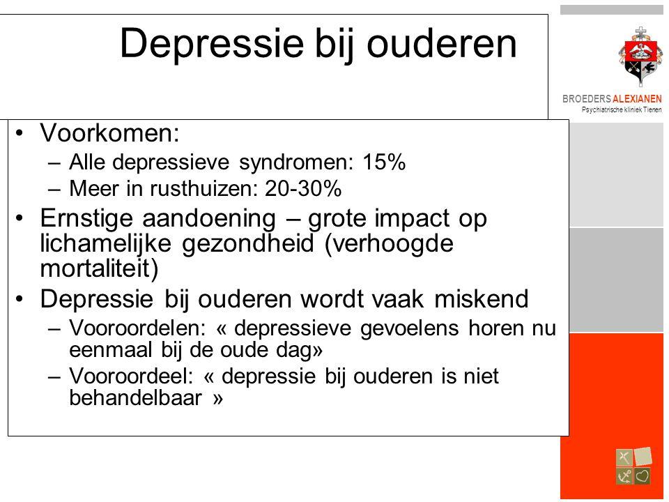 Depressie bij ouderen Voorkomen: