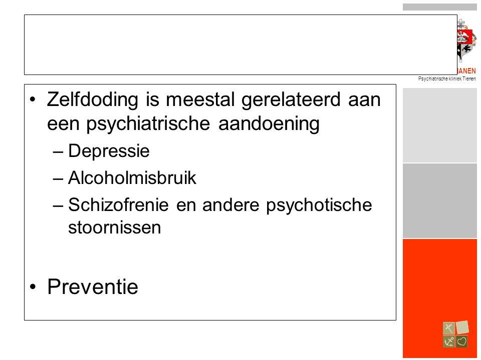 Zelfdoding is meestal gerelateerd aan een psychiatrische aandoening