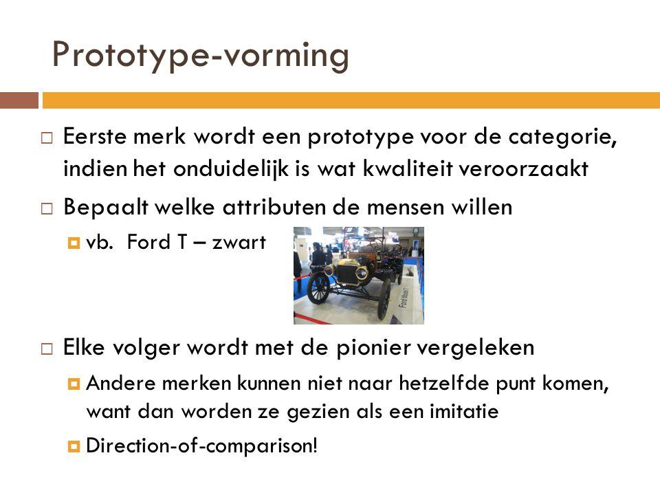 Prototype-vorming Eerste merk wordt een prototype voor de categorie, indien het onduidelijk is wat kwaliteit veroorzaakt.
