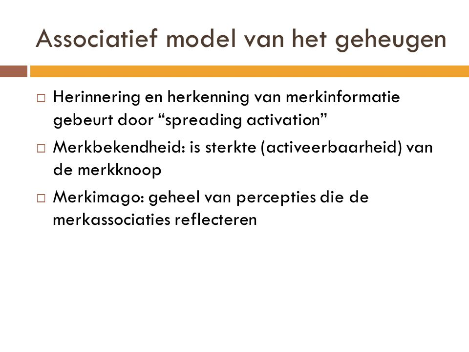 Associatief model van het geheugen