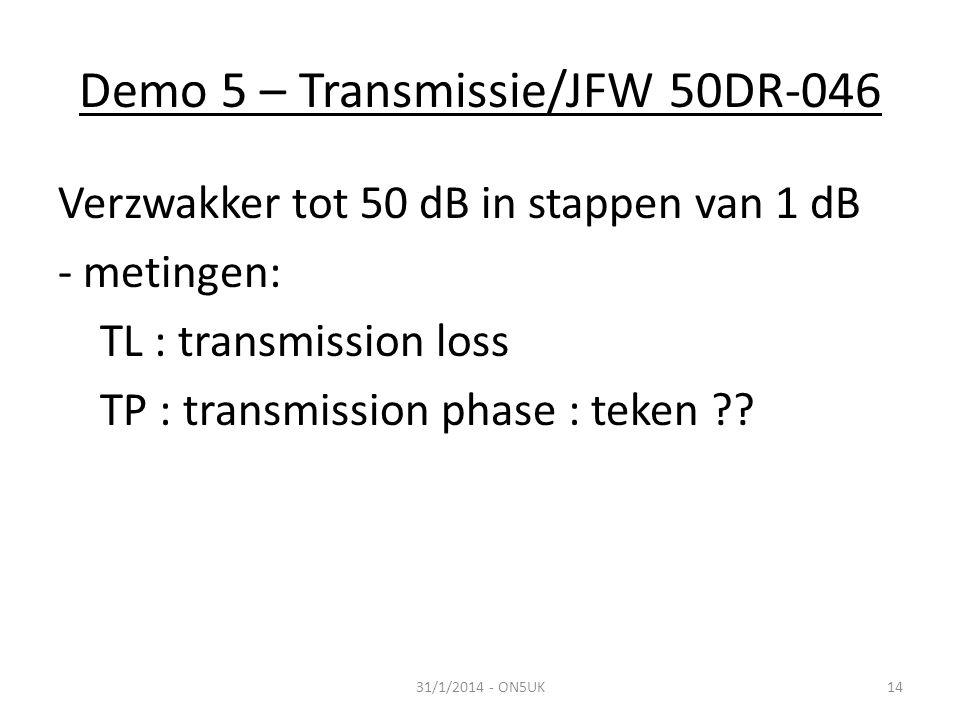 Demo 5 – Transmissie/JFW 50DR-046