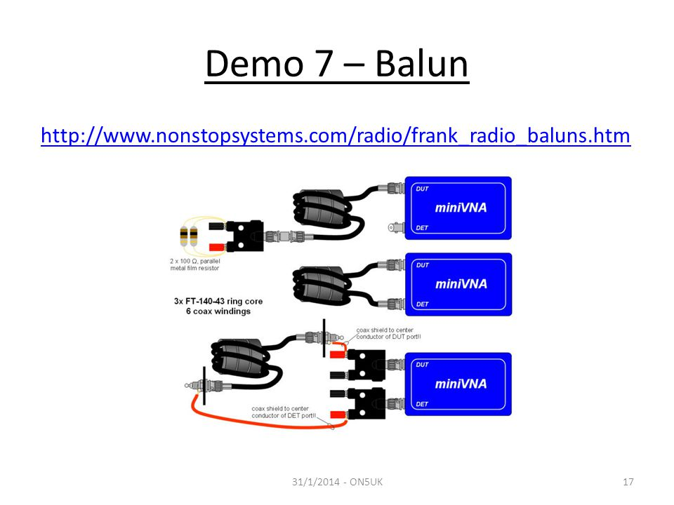 Demo 7 – Balun http://www.nonstopsystems.com/radio/frank_radio_baluns.htm 31/1/2014 - ON5UK